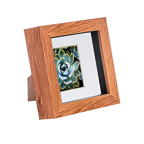 Nicola Spring 4 x 4 3D Shadow Box Photo Frame - Craft Display Picture Frame with 2 x 2 Mount - Glass Aperture - Dark Wood