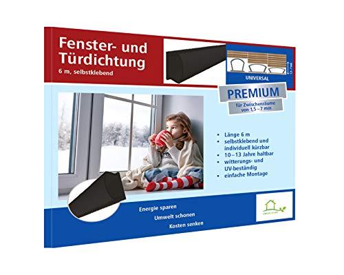 Fensterdichtung selbstklebend [SILIKON] Dichtungsband für Tür- und Fensterspalten [PREMIUM] - Für Spaltenbreiten von 1,5-7 mm – schwarz