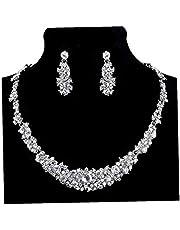 Splendida da sposa orecchini di promenade di cristallo del collana gioielli per le donne