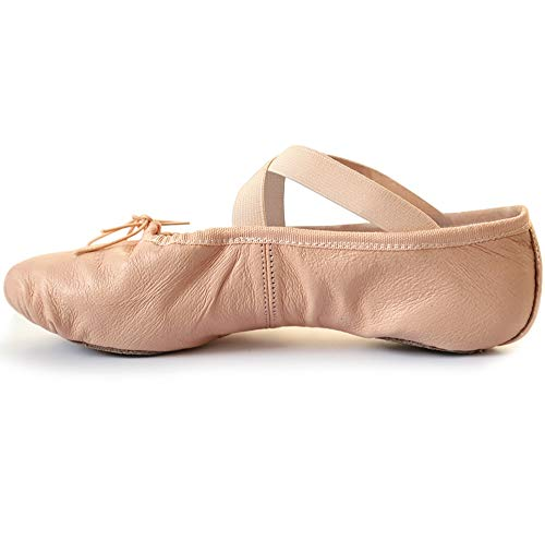 s.lemon Erste Klasse Oberste Schicht Leder Ballettschuhe Balletschläppchen Tanzschuhe für Mädchen Kinder Rosa (33 EU)
