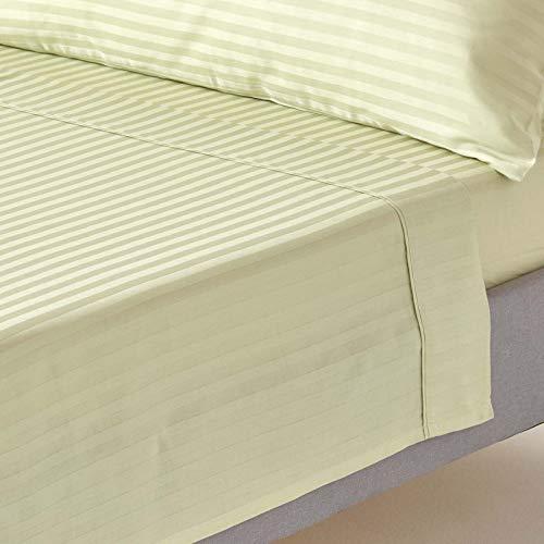 Homescapes Drap Plat Vert Clair de Luxe avec Rayures Effet Satin pour 1 à 2 Personnes de 230 x 260 cm en Pur Coton peigné d'Egypte 330 TC (qualité Percale 130 Fils/cm²)