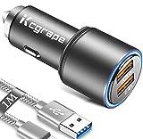 Cargador Coche USB Rapido para Movil iPhone 12 11 Pro MAX/XS X XR/XS MAX/7 8 7 Plus/8+/6 6S 6S Plus/SE 2020/12 Mini,Qualcomm Quick Charge 3.0+2.4A 30W Carga Rapida Doble Puertos con 1M Cable