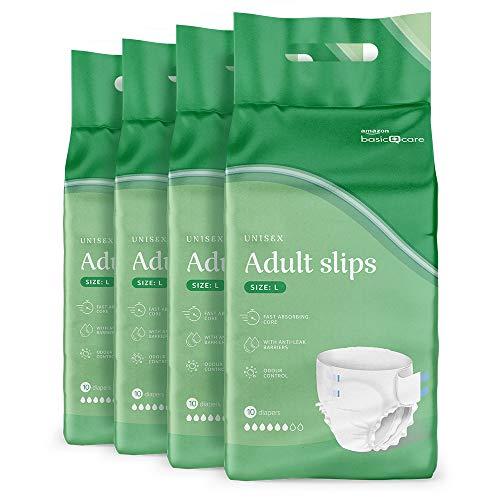 Amazon Basic Care Pañales para adulto, grandes, 4 paquetes de 10 (total 40)