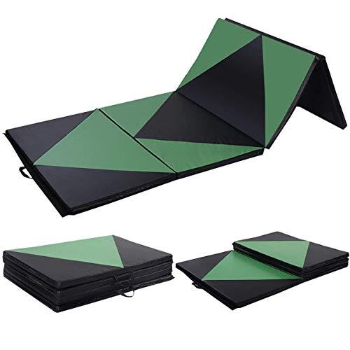 Polar Aurora 4'x10'x2 Thick Folding Gymnastics Exercise Mat Aerobics Stretching Yoga Mats (Green-Black)