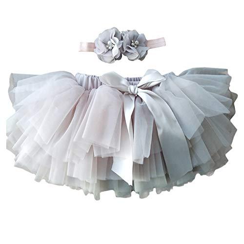 YONKOUNY Baby Mädchen Tutu Rock Prinzessin Tüllrock Minirock Baby Fotoprops Reifrock Ballettrock für Fotografie Geburtstag + Stirnband (Grau, 0-6 Monate)
