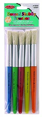 Charles Leonard Creative Arts Paint Brushes, Short Stubby Round Handle with Hog Bristle, 7.5 Inch