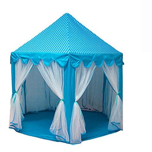 Fnho Grande De Juego Interior y Exterior Tipi Indio para niños,Tienda de campaña Regalo para Niños,Carpa de Tul Hexagonal, casa de Juegos para niños-Azul_1.4 x 1.35M