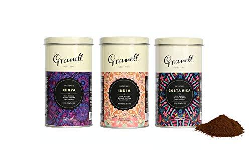 Cafés Granell - Origins Pack Premium Gemahlener Kaffee | Kenia, Indien, Costa Rica und Äthiopien, 100 % Arabica Kaffee Gemahlen