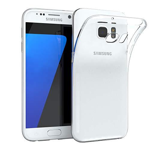 EAZY CASE Hülle kompatibel mit Samsung Galaxy S7 Schutzhülle Silikon, Ultra dünn, Slimcover, Handyhülle, Silikonhülle, Backcover, Durchsichtig, Klar Transparent