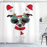 ABAKUHAUS Weihnachten Duschvorhang, Lustige H&esonnenbrillen, Digital auf Stoff Bedruckt inkl.12 Haken Farbfest Wasser Bakterie Resistent, 175 x 200 cm, Multicolor