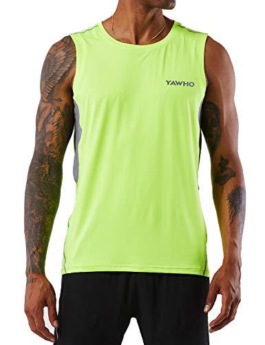 Herren Tank Top Tankshirt Sport T-Shirt Ärmellos Muskelshirt Fitness Gym Workout Bodybuilding Shirt Weste mit Rundhalsausschnitt,Schnelltrocknendes Atmungsaktives und Elastizität Stoff (Yellow, M)