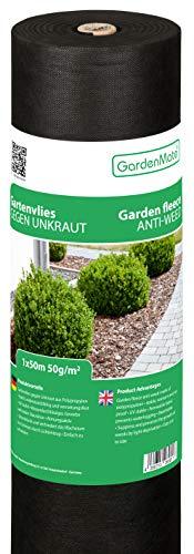 GardenMate 1mx50m Gartenvlies 50g/m² - Rolle Unkrautvlies Reißfestes Unkrautschutzvlies - Hohe UV-Stabilisierung - Wasserdurchlässig - 1mx50m=50m²