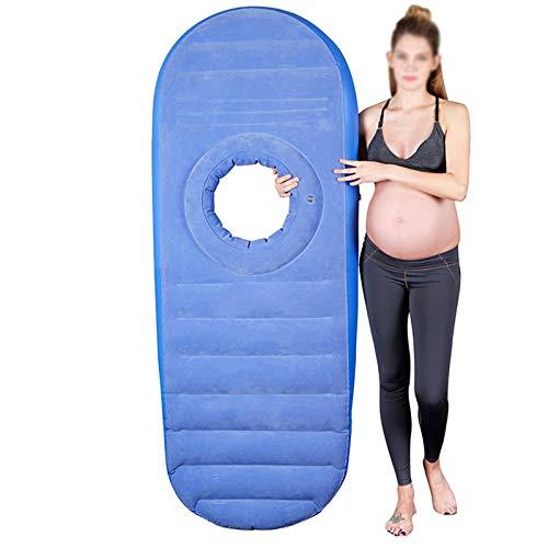 DNNAL Schwangerschaftskissen, Aufblasbares PVC Mutterschaftskissen Schwangerschaftsbett Bauchliegendes Kissen zum Schlafen Liegen, Tragbares Schlafmassagekissen,Blau