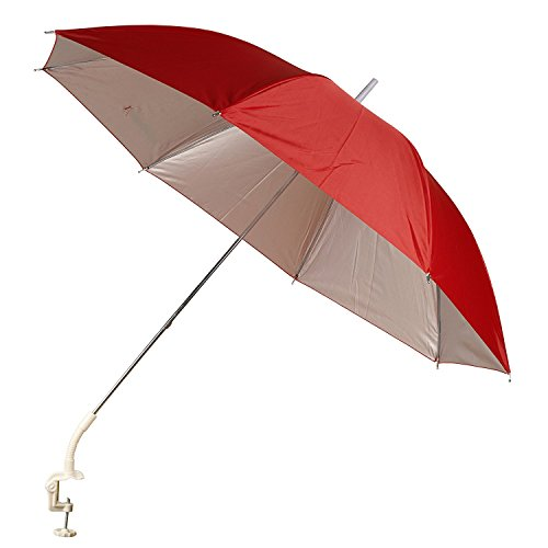 Panorama Gifts Portable Deck Chair Umbrella Lightweight Balcony Parasol + Clamp On Screw (Red)