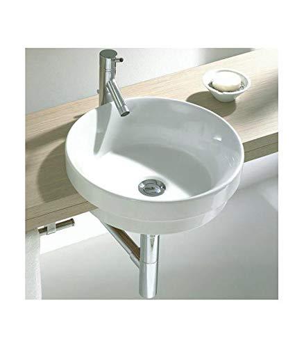 Sanitana - Waschbecken rund Durchmesser Serie Circle Keramik weiß - 40 cm, weiß