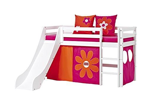 Hoppekids Basic-A5-3 Flower Power Textile und Matratze Halbhohes Bett mit Rutsche, Spiel-/Junior-/Kinder-/Jugendbett, Kiefer massiv, Liegefläche 70 x 160 cm, Holz, weiß, 168 x 175 x 105 cm