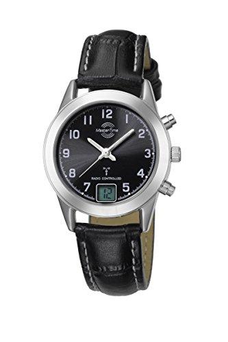 Master Time Damen Funk Uhr Analog-Digital Quarz mit Leder Armband MTLS-10450-22L