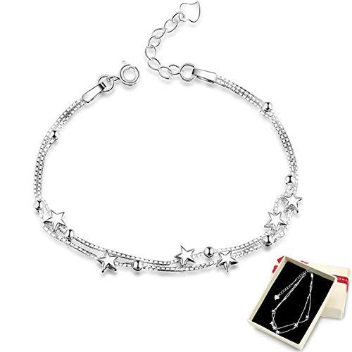 Damen Armband Elegant Perlen 925 Silber und Sterne Double Layered Armkettchen mit 925 Sterling Silber Armband Armkette Schmuck Verstellbar Modeschmuck Armbänder Liebe Armbänder mit Schmuckverpackung