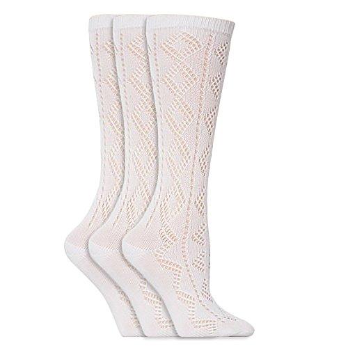 Universaltextilien Mädchen Spitzen-Kniestrümpfe, Weiß, Schulmädchen Socken (3 Paar) (EUR 37-38.5 (13+ Jahre)) (Weiß)