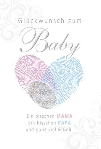 Geburtskarte | Geburt Baby Karte | Karte zur Geburt | Geburtskarten Baby | Baby Karte Geburt | Karte Baby im Set | Karte in Folie | DIN A6 | Klappkarte inkl. Umschlag | Motiv: Fingerabdrücke
