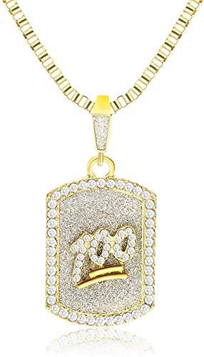 DUEJJH Co.,ltd Halskette Luxus Iced Out Hundemarke Halskette Gold Farbe Kristall Emoji 100 Punkte Anhänger Halskette Männer Hip Hop Schmuck