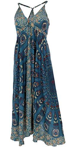 GURU SHOP Sommerkleid, Maxikleid, Strandkleid, Hippiekleid im Peacook Style, Damen, Petrol, Synthetisch, Size:38, Lange & Midi-Kleider Alternative Bekleidung