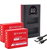 Baxxtar Pro (2X) Compatible con batería Fujifilm NP-W126s (NP-W126) - Mini 1855 LCD Dual Cargador - (Entrada USB-C y MicroUSB)