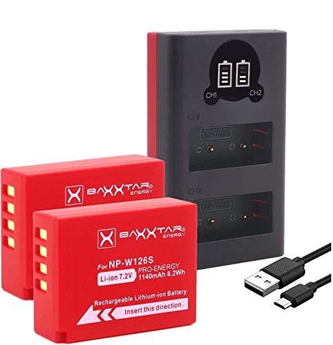 Baxxtar Pro (2X) Ersatz für Akku Fujifilm NP-W126s (NP-W126) mit Mini 18612 LCD DUAL Ladegerät (Eingang USB-C und MicroUSB)