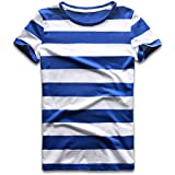 Zecmos Blue White Striped Shirts Women Wide Stripes T-Shirts Short Sleeve Costume Tee L