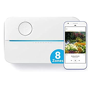 Rachio 3 Smart Sprinkler Controller 8 Zone 3rd Generation Alexa and Apple HomeKit Compatible with Hyperlocal Weather Intelligence Plus and Rain Freeze and Wind Skip