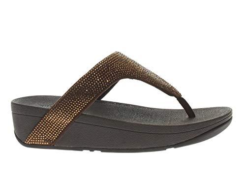 Fitflop™ Women's Lottie™ Shimmer-Crystal Microfibre Flip Flop Bronze-Bronze-4 Size 4