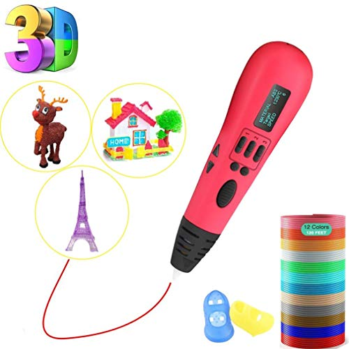 HYLL 3D-Druckstift, 3D-Stift mit LCD-Bildschirm, sicherer und einfach zu bedienender 3D-Stifte für Kinder Erwachsene, 3D-Zeichenstift mit 12 Farben PLA-Filament-Nachfülls weiß