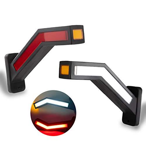 Iriisy 2PCS Luz Trasera de Camion Remolque LED Marcador Lateral Iluminación Esquema Indicadora Caravana Luz de advertencia Van LED 12-24V