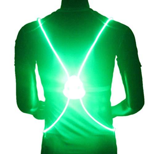 Genbree LED Reflective Running Vest Visibility Safety Vest Multicolored Fiber Optics Safety Sport Vest Belt Night Running Reflective Gear for Night Running and Night Riding (Green)