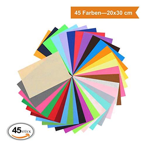 ZADAWERK® Filzmatten zum Basteln und Nähen- 1 mm, dünn - 20 x 30 cm - 45 Farben - 45 Stück