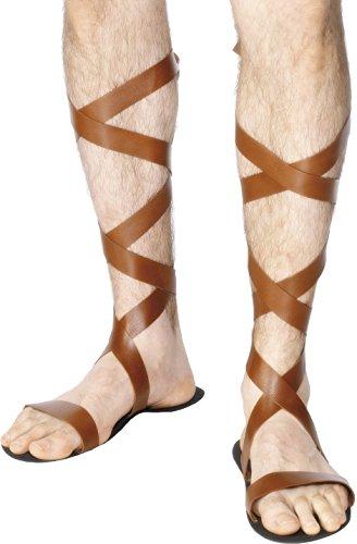 Smiffys-28438 Sandalias romanas, color marrón, Tamaño único (Smiffy's 28438) , color/modelo surtido
