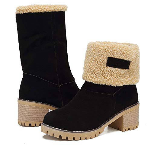 Women Cute Warm Short Boots Suede Chunky Mid Heel Round Toe Winter Snow Ankle Booties (Black, 7.5)