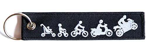 RENEGADE Biker Evolution - Motorrad Schlüsselanhänger aus Stoff mit Schlüsselring - bestickt mit leuchtendem Faden & kratzfest (130 x 30 mm, schwarz). Ideal für Ihr Motorrad