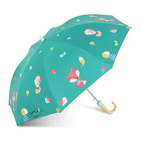 RXL Sonnenschutz Sonnenschirm 90 * 70cm Sonnenschirm Lange Gerade Griff scherzt Regenschirm Halbautomatische Sicherheit Studenten Männer und Frauen Regenschirm Schutz (Color : Green)
