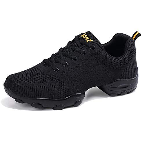 LFEU Zapatos del baile de luz no Slip Jazz zapatos al aire libre Ejecución del gimnasio del deporte de malla zapatillas de deporte para Hombres 8 UK Negro