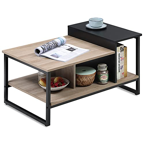 """HOMOOI Small Industrial Coffee Table with Storage Shelves for Living Room, Wood and Metal Coffee Tables with 4 Open Large Storage Compartments, 31.5"""""""
