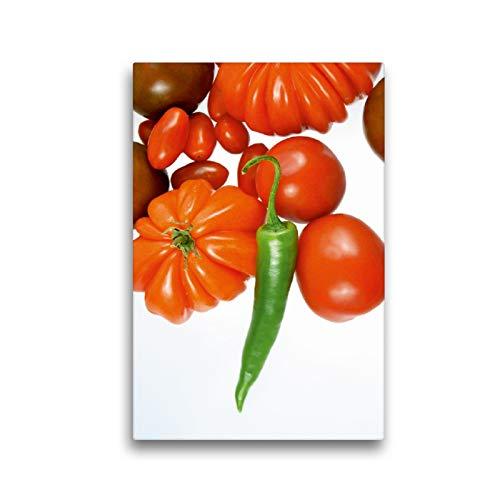 Premium Textil-Leinwand 30 x 45 cm Hoch-Format Tomatensorten mit grüner Chili | Wandbild, HD-Bild auf Keilrahmen, Fertigbild auf hochwertigem Vlies, Leinwanddruck von Gerhard Kraus