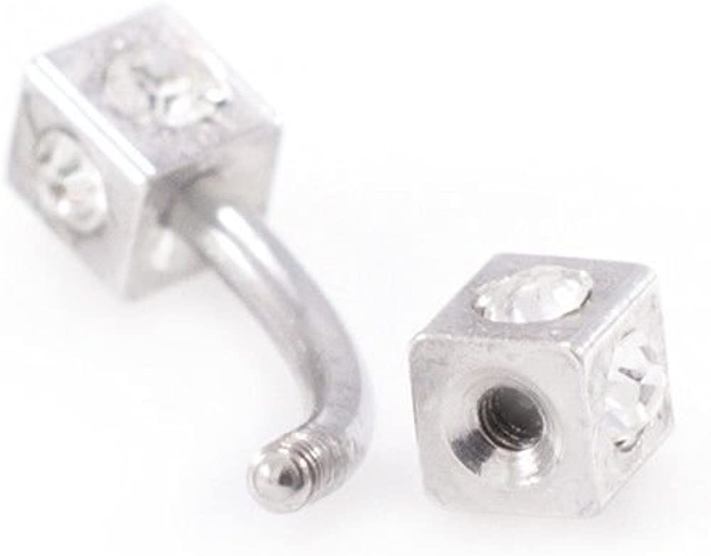 Eyebrow Ring Piercing Jewelry 16g 15mm Curved Barbell With Cz Gems Dice