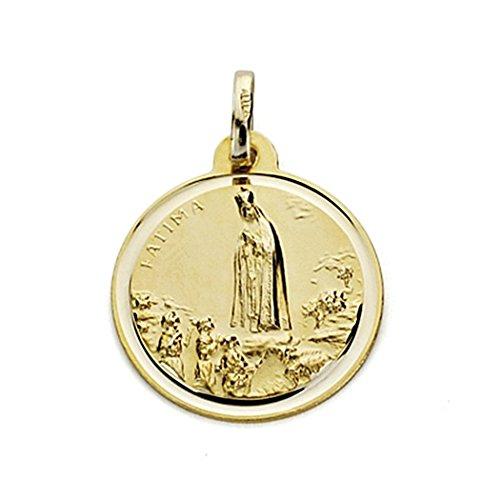 Medalla Oro 18K Virgen De Fátima 18mm. Bisel [7578]