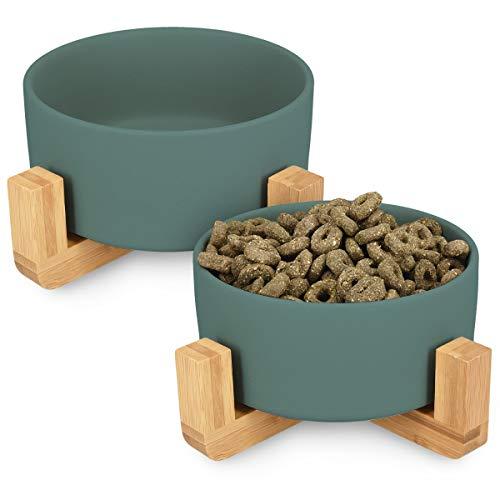 Navaris Ciotole per Cani e Gatti - 2 Ciotoline in Ceramica Rialzate con Supporti in bambù per Animali Domestici - Scodella Rialzata per Cane e Gatto