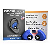 Decibullz - NRR 31 Custom Molded Earplugs, Perfect Fit Ear Protection for Safety, Travel, Work and Shooting (Blue)