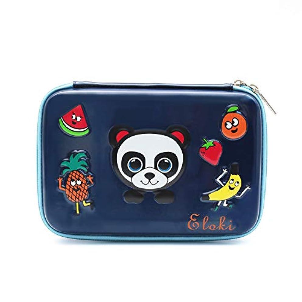 Panda Colored Pencil case,Waterproof PU Pen case with Zipper Fruit Pen Pouch 84 Pencil Slot Large Capacity Desk Organizer for School&Office Supplies Dark Blue