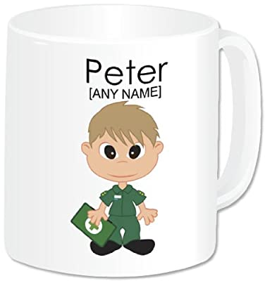 Personalised Paramedic Gifts - Paramedic Mug (A GoPersonalised Design). Any Name Any Message. Emergency Services Staff Nurse Male Paramedic Medic Medical Hospital Staff Red Cross Themed Design. A Perfect Unique Paramedic Present For Birthday, Christmas, G