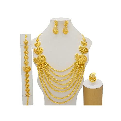 XJTJSM Collar de Cuentas escalonadas Dubai Gold Big Jewelry Sets Accesorio de Novia de Boda (Color : Gold)