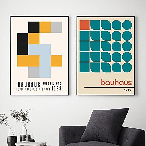 Pôsteres e impressões de exposição de museu Bauhaus Gallery Wall Art Pictures Pintura em tela Herbert Bayer para decoração de sala de estar/50 x 72 x 2 sem moldura